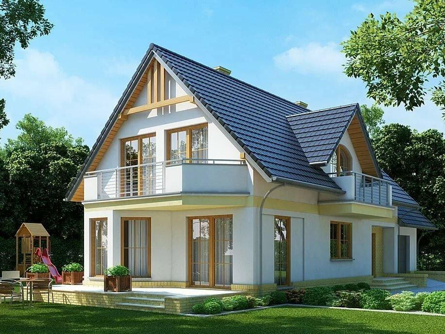 дом с балконом из кирпича