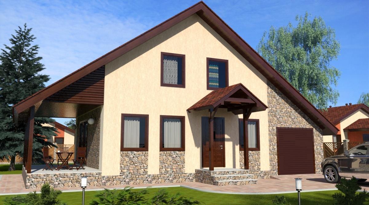 двухэтажный дом с гаражем